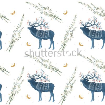 Fototapet Akvarell sömlösa mönster med skandinavisk element grenar, gräsblad.