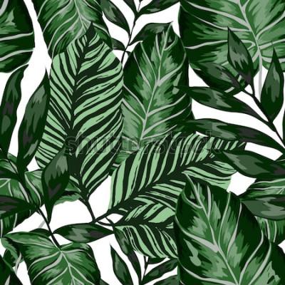 Fototapet Akvarell sömlösa mönster med tropiska blad: palmer, monstera, passionsfrukt. Vackert allover-tryck med handritade exotiska växter. Badkläder botanisk design. Vektor.