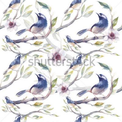 Fototapet Akvarell spring seamless pattern with birds, tree branches, flowers and leaves. Handmålade botaniska tapeter mall med blå fåglar på vit bakgrund. Vintage naturliga konsistenser
