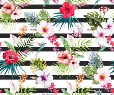 Fototapet Akvarell tropiska blommönster
