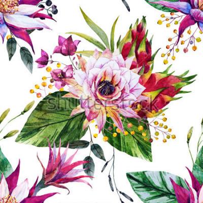 Fototapet akvarell tropiskt mönster, kaktusblomma, Mexiko, drakefrukt, gula bär