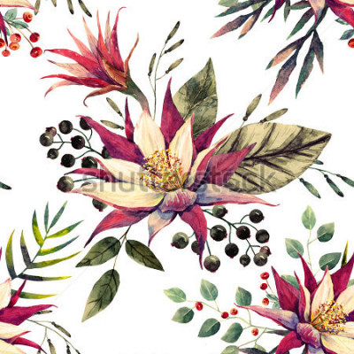 Fototapet akvarell tropiskt munk, kaktusblomma, svartvita björn, palmblad, retrofärger