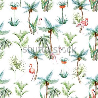 Fototapet akvarell tropiskt munkar, palmer och flamingos vit bakgrund