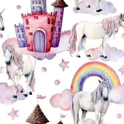 Fototapet Akvarellfärgsmönster med enhörningar. Handmålade magiska hästar, slott, regnbåge, moln, stjärnor isolerade på vit bakgrund. Gullig tapeter för design, tryck eller bakgrund.