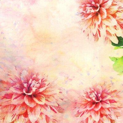 Fototapet Akvarellillustration av blommor tema
