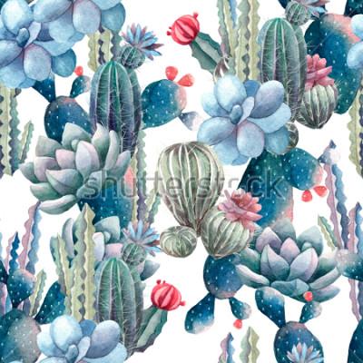 Fototapet akvarellkaktusmönster