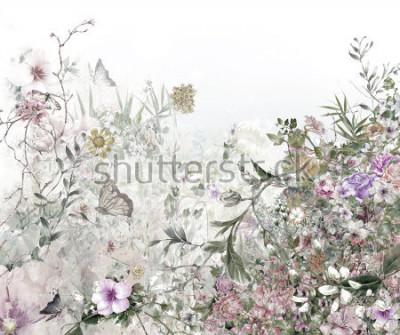Fototapet akvarellmålning av löv och blomma, på vit bakgrund