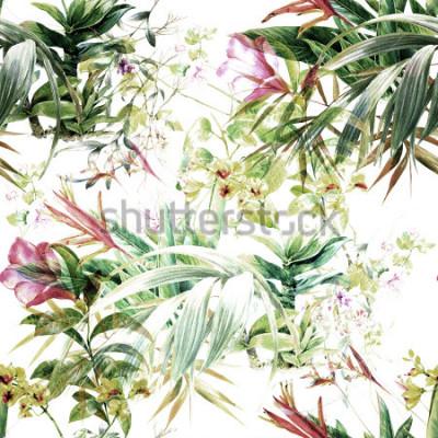 Fototapet Akvarellmålning av löv och blommor, sömlöst mönster på vit bakgrund