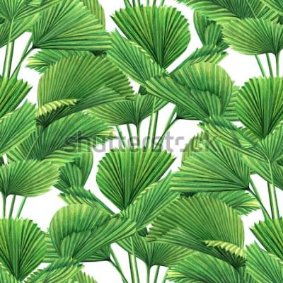 Fototapet Akvarellmålning kokosnöt, palmblad, gröna blad sömlös bakgrund. Vattenfärg hand dras illustration tropiska exotiska bladtryck för tapeter, textil Hawaii aloha djungel stil mönster.