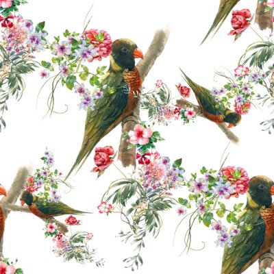 Fototapet Akvarellmålning med fåglar och blommor, sömlöst mönster på vit bakgrund