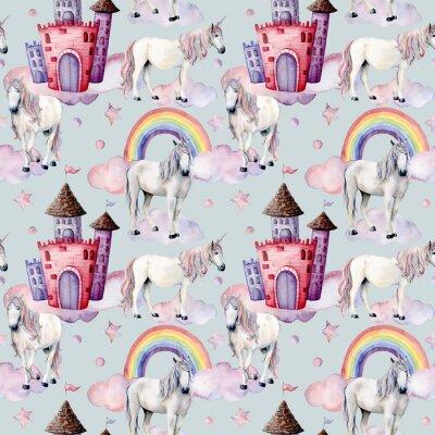 Fototapet Akvarellmönster med enhörningar och saga dekor. Handmålade magiska hästar, slott, regnbåge, moln, stjärnor isolerade på vit bakgrund. Gullig tapeter för design, tryck eller bakgrund.