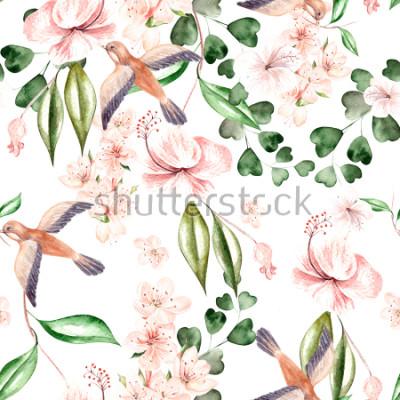 Fototapet Akvarellmönster med vårblommor, eucalyptusblad och fåglar. Illustration