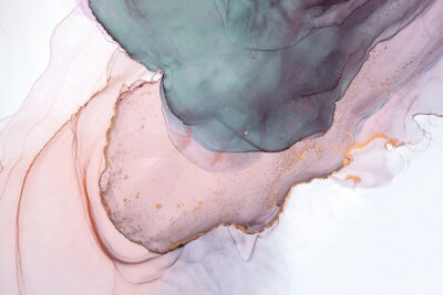 Fototapet Alcohol ink sea texture. Contemporary art. Abstract art background. Multicolored bright texture. Fragment of artwork. Modern art. Inspired by the sky, as well as steam and smoke. Trendy wallpaper.