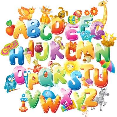 Fototapet Alfabet för barn med bilder