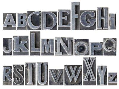 Fototapet alfabetet i blandad metall typ
