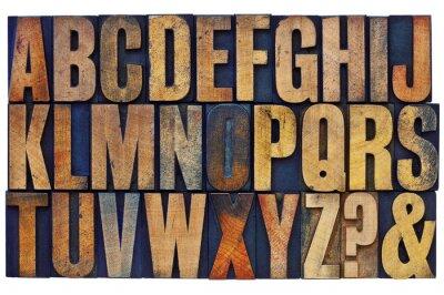 Fototapet alfabetet i boktryck trä textblock