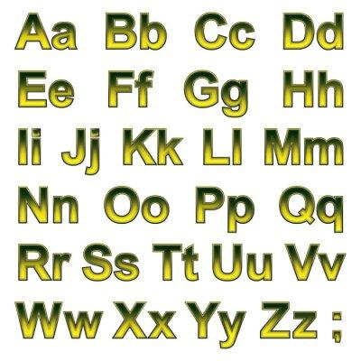 Fototapet Alfabetet pseudo 3d bokstäver