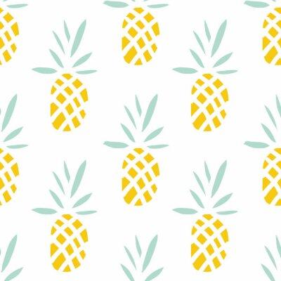 Fototapet Ananas på vit bakgrund. Vector Seamless tropisk frukt.