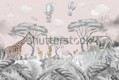 Fototapet animals in the forest children's room wallpaper design