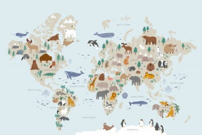 Fototapet Animals world map for kids. Poster with cute vector animals in flat style. Cartoon doodle characters in scandinavian style for children