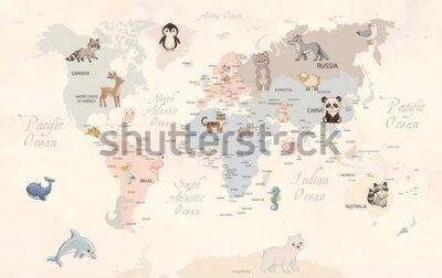 Fototapet Animals world map for kids wallpaper design