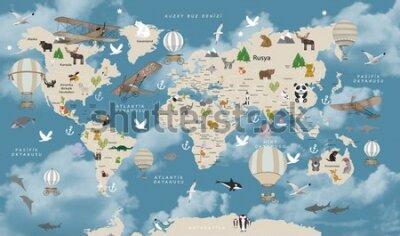 Fototapet Animals world map for kids wallpaper design Turkish articles