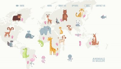 Fototapet Animals world map vector illustration. Landing page for children online educational platform. Cute cartoon animals in wildlife. Geography concept for kids. Fauna of different continents.