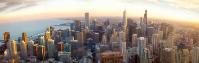 Fototapet Antenn Chicago panorama vid solnedgången, IL, USA