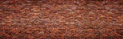 Fototapet Antique brick wall, panoramic view. Grunge stone texture.