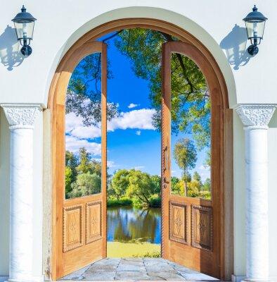 Fototapet Arch dörren öppen damm