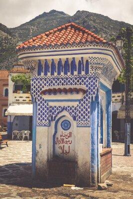 Fototapet Arkitektoniska detaljer i Chefchaouen, Marocko, Afrika