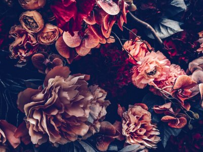 Fototapet artificial flowers wall background with vintage style