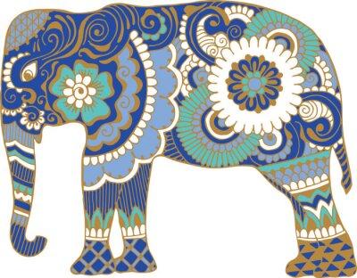 Fototapet Asiatisk elefant med mönster