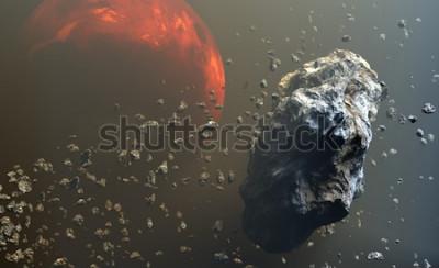 Fototapet Asteroider eller meteoriter fält i det yttre rymden, bildning av planeter. Illustration 3d