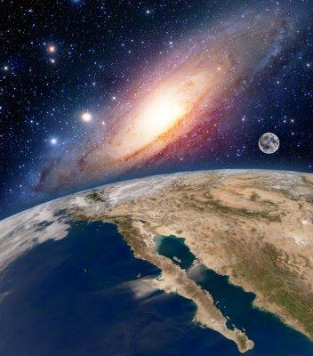 Fototapet Astrologi astronomi jord big bang rymd stjärnor moon planet Vintergatan. Delar av denna bild som tillhandahålls av NASA.