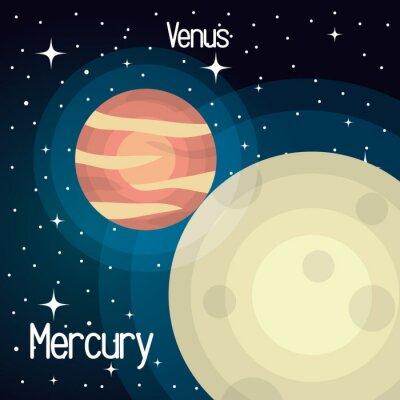 Fototapet astronomi kvicksilverSystemet solar planeter isolerade vektor illustration eps 10