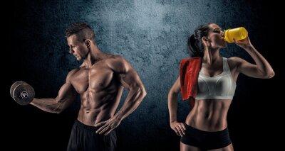 Fototapet Atletisk man och kvinna