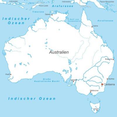 Fototapet Australien i Weiß (beschriftet) - Vektor