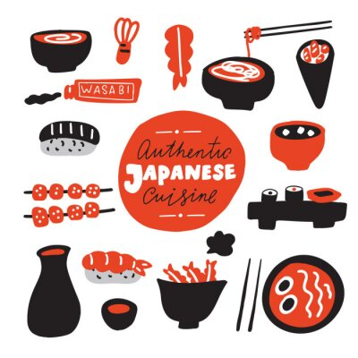Fototapet Authentic japanese cuisine.Hand drawn food. Doodles. Made in vector.