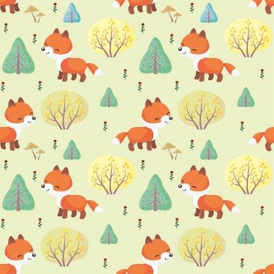 Fototapet Baby färgstarka sömlösa mönster med bilden av en söt skogsdjur. Vektor bakgrund.