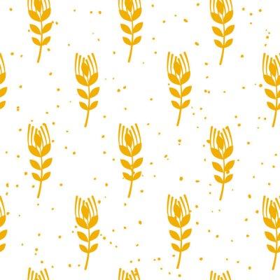 Fototapet Bageri sömlöst mönster med vete på vit bakgrund. Prydnad för textil och omslag. Vektor.