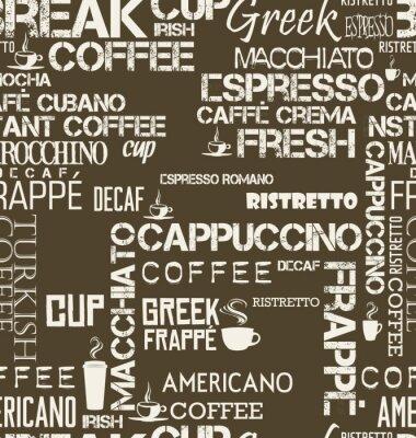 Fototapet Bakgrund sömlös kakel av kaffe ord och symboler