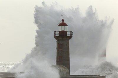 Fototapet Bakgrundsbelyst stora stormiga våg