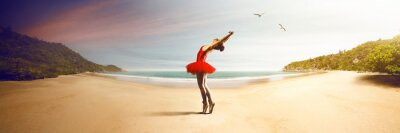 Fototapet Balettdansös på stranden