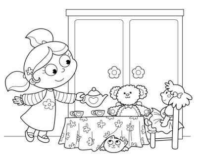 Fototapet Bambina che GIOCA en servire il te alle Bambole