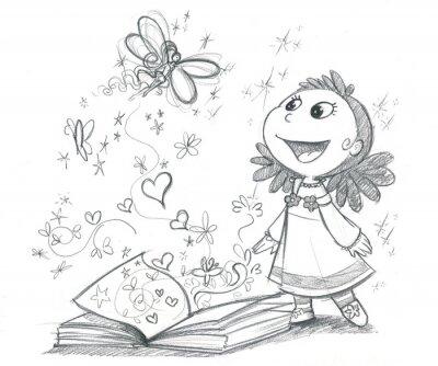Fototapet Bambina con libro fantasi