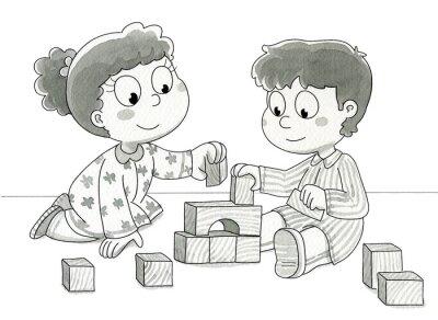 Fototapet Bambini che con giocano cubetti. Bn