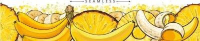 Fototapet Banana and pineapple seamless pattern or endless border sketch vector illustration.