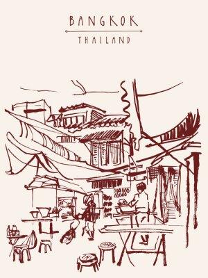 Fototapet Bangkok handritad vykort