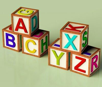 Fototapet Barn block med ABC och XYX som symbol för utbildning och Learnin